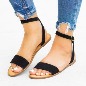 Soda Black Simple Ankle Strap Comfy Sandals